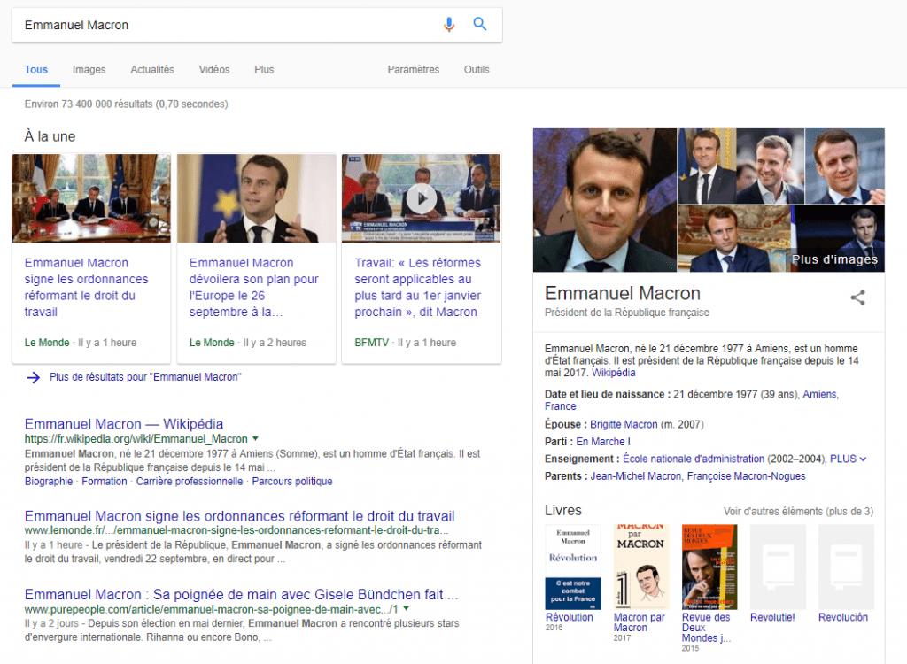 Recherche Google pour Emmanuel Macron