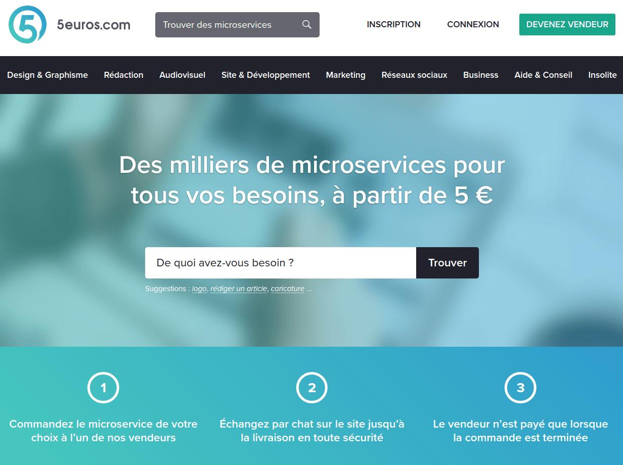 Page d'accueil de 5euros.fr